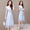 Dress Summer of 2019 Light blue, pink M. L, XL, 2XL, 3XL, 4XL, shopping cart + collection + pay attention to the store, enjoy priority delivery, get 20 coupons, take a reduction of 20 coupons singleton  Short sleeve commute Crew neck High waist Decor Socket A-line skirt routine Others 35-39 years old