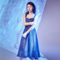 Dress Summer 2020 royal blue S,M,L longuette singleton  street High waist zipper Big swing camisole Denim