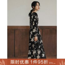 Dress Autumn 2020 Japanese flower skirt S M L longuette singleton  Long sleeves commute V-neck Elastic waist Decor Socket A-line skirt bishop sleeve Others 25-29 years old Type A Ancient times Retro Print, fold M9002Q10446 More than 95% polyester fiber Polyester 100%