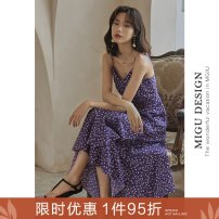 Dress Spring 2020 XS S M L Mid length dress singleton  commute V-neck High waist Broken flowers zipper A-line skirt camisole 25-29 years old Ancient times Retro Ruffle zipper More than 95% polyester fiber Polyester 100%
