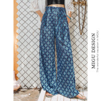 Casual pants Blue Saike wide leg pants S M L Autumn of 2019 trousers Wide leg pants Natural waist Thin money 25-29 years old M8091K2495000 Ancient times Polyester 100%