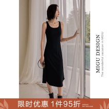 Dress Autumn 2020 Simple black dress S M L longuette singleton  Sleeveless commute Crew neck Loose waist Solid color Socket A-line skirt Others 25-29 years old Ancient times Retro M0102Q10485 More than 95% polyester fiber Polyester 95% polyurethane elastic fiber (spandex) 5%