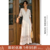 Dress Autumn of 2019 Bai Shilei (s / M pre-sale 4.28 delivery) S M L longuette singleton  elbow sleeve commute V-neck Elastic waist Solid color Socket A-line skirt pagoda sleeve Others 25-29 years old Type A Ancient times Retro Fringed cut out pleated lace printing M8091Q1991001 nylon