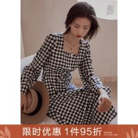 Dress Autumn 2020 Y French plaid skirt S M L Mid length dress singleton  Long sleeves commute square neck High waist lattice Socket A-line skirt shirt sleeve 25-29 years old Type A Ancient times Retro Tie print with bow and tuck M8002Q10377 51% (inclusive) - 70% (inclusive) polyester fiber
