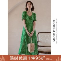 Dress Summer 2020 S M L Mid length dress singleton  commute square neck High waist Broken flowers zipper A-line skirt puff sleeve Others 25-29 years old Type A Ancient times Retro More than 95% polyester fiber Polyester 100%