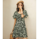 Dress Winter of 2018 S M L Short skirt singleton  Short sleeve commute square neck High waist Decor Socket Big swing pagoda sleeve 25-29 years old Type A Ancient times Retro Zipper printing More than 95% polyester fiber Polyester 100%
