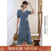 Dress Summer 2020 Y Blue Daisy skirt S M L Mid length dress elbow sleeve commute V-neck High waist Broken flowers other Ruffle Skirt puff sleeve Others 25-29 years old Type A Ancient times Retro Tie with bow and lotus leaf and Auricularia auricula M7002Q10354 More than 95% polyester fiber