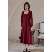Dress Autumn 2020 S M L Mid length dress singleton  Long sleeves commute square neck High waist Solid color zipper Big swing bishop sleeve Others 25-29 years old Type A Ancient times Retro Pleated button zipper More than 95% polyester fiber Polyester 95% polyurethane elastic fiber (spandex) 5%