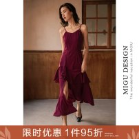Dress Spring 2021 Tango skirt S M L longuette singleton  Sleeveless commute V-neck High waist Solid color zipper Ruffle Skirt camisole 25-29 years old Type A Ancient times Retro Asymmetrical zipper split with ruffle M1012Q10553 More than 95% polyester fiber Polyester 100%