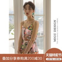Dress Winter of 2019 Y wheel sling skirt S M L Mid length dress singleton  Sleeveless commute Crew neck Loose waist Decor Socket A-line skirt camisole 25-29 years old Type H Ancient times Retro Bow and tie print M9091Q1971000 More than 95% polyester fiber Polyester 100%