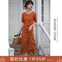 Dress Summer 2020 Y-belt T-shirt skirt S M L Mid length dress singleton  elbow sleeve commute Crew neck High waist Solid color Socket A-line skirt routine Others 25-29 years old Ancient times Retro Fold, lace, bow M7002Q10339 91% (inclusive) - 95% (inclusive) cotton
