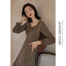 Dress Autumn 2020 Y Wonderland forest S M L longuette singleton  Long sleeves commute square neck High waist Decor zipper A-line skirt puff sleeve 25-29 years old Type A Ancient times Retro Pleated Auricularia zipper M0102Q10438 More than 95% other polyester fiber