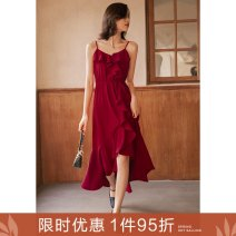 Dress Spring 2021 Samba girl S M L longuette singleton  commute V-neck High waist Solid color zipper Ruffle Skirt camisole 25-29 years old Type A Ancient times Retro Ruffle fold M1012Q10542 More than 95% polyester fiber Polyester 100%