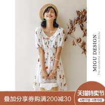 Dress Autumn of 2019 Y fresh French skirt S M L Short skirt singleton  Short sleeve commute Doll Collar High waist Decor Socket A-line skirt routine Others 25-29 years old Type A Ancient times Retro Pleated printing M9091Q1982000 More than 95% polyester fiber Polyester 100%