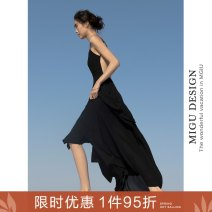 Dress Autumn 2020 Xianben black dress S M L longuette singleton  commute One word collar Elastic waist Solid color Socket Big swing camisole 25-29 years old Ancient times Retro Open back, fold, split M2191Q10185 More than 95% polyester fiber Polyester 100%