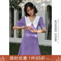 Dress Summer 2020 Y Purple Maple white bell S M L Short skirt singleton  elbow sleeve commute Doll Collar High waist Solid color zipper A-line skirt puff sleeve Others 25-29 years old Type A Ancient times Retro Button zipper M5002Q10316 91% (inclusive) - 95% (inclusive) polyester fiber