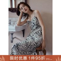 Dress Autumn 2020 Know your BMI before the recommended size of zebra skirt S M L Mid length dress singleton  commute V-neck Loose waist Leopard Print zipper A-line skirt camisole 25-29 years old Type A Ancient times Retro zipper M9002Q10428 More than 95% polyester fiber Polyester 100%
