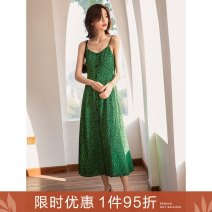 Dress Spring 2021 You green leopard spot S M L longuette singleton  commute V-neck middle-waisted Leopard Print zipper Big swing camisole 25-29 years old Type A Ancient times Retro Button zipper print split M1012Q10545 More than 95% polyester fiber Polyester 100%