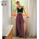 Casual pants S M L Autumn of 2018 trousers Wide leg pants Natural waist commute Thin money 25-29 years old Ancient times Retro Polyester 100%