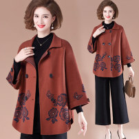 Middle aged and old women's wear Spring 2021, autumn 2021 Orange (single coat), red (single coat), green (single coat), orange (coat + base coat), red (coat + base coat), green (coat + base coat) L,XL,XXL,XXXL,4XL fashion Jacket / jacket easy Two piece set Flower and bird pattern 40-49 years old