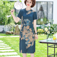 Middle aged and old women's wear Summer 2021 Blue, red L,XL,XXL,XXXL,4XL noble Dress easy singleton  Big flower 40-49 years old Socket thin Crew neck Medium length routine Rose lotus Button silk 96% and above Middle-skirt real silk skirt 161g / m ^ 2 (including) - 180g / m ^ 2 (including)