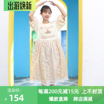 Dress Summer 2020 Apricot, grey XS,S,M,L,XL Mid length dress singleton  Short sleeve Sweet Crew neck High waist lattice Socket Pleated skirt Princess sleeve Others 18-24 years old Type A Stick cloth, embroidery, fungus, lace More than 95% other cotton solar system