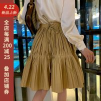 skirt Spring 2020 XS,S,M,L Khaki (in stock) Middle-skirt commute Natural waist Pleated skirt Solid color Type A 25-29 years old More than 95% Various pictures polyester fiber Bandage Korean version