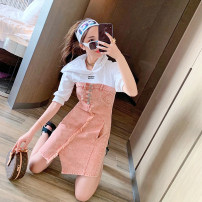 Dress Summer of 2019 Pink (spot) 34/XS,36/S,38/M,40/L Mid length dress singleton  Long sleeves commute Hood High waist other Socket Irregular skirt other Others 25-29 years old Type A literature Splicing 81% (inclusive) - 90% (inclusive) polyester fiber