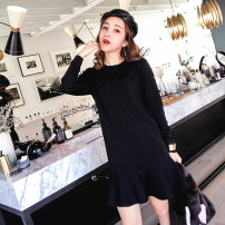 Dress Fall 2017 Black shoulder strap Beixing Burgundy blue black 36/S 38/M 40/L Middle-skirt singleton  Long sleeves commute Crew neck Loose waist Solid color Socket Ruffle Skirt routine Others 25-29 years old Type H Various pictures Ol style Lotus leaf edge LYQ17100810 nylon