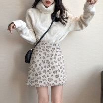 skirt Winter of 2019 S,M,L Greyish green, card apricot Short skirt commute High waist A-line skirt Leopard Print Type A 18-24 years old Wool Other / other Korean version