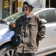 short coat Autumn of 2018 S M L XL Yellow grey Long sleeves Medium length routine singleton  easy Versatile routine Single breasted Leopard Print
