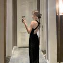 Dress Spring 2021 black S,M,L Mid length dress singleton  commute Crew neck High waist stripe camisole 25-29 years old Type H