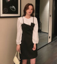 shirt White, black stock, 2-piece set S,M,L Spring 2021 other 81% (inclusive) - 90% (inclusive) Sleeveless Versatile Short style (40cm < length ≤ 50cm) Lotus leaf collar Socket other Solid color High waist type Ruffles, three dimensional decoration polyester cotton