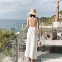 Dress Spring 2021 white S,M,L longuette singleton  Sleeveless Sweet V-neck Loose waist Solid color Irregular skirt backless Bohemia