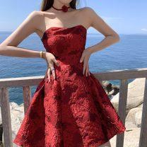 Dress Summer 2021 gules S,M,L,XL Short skirt singleton  Sleeveless Sweet One word collar High waist Solid color Socket A-line skirt 18-24 years old Type A +S C.U.E Ruili