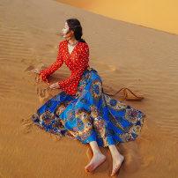 skirt Spring 2021 S,M,L Sapphire blue, red, 2-piece set Mid length dress Sweet Natural waist Umbrella skirt Decor Type A 91% (inclusive) - 95% (inclusive) other polyester fiber Bohemia