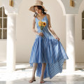 Dress Spring 2021 Blue white stripe S,M,L,XL longuette singleton  Sweet V-neck High waist stripe Irregular skirt backless Chiffon polyester fiber Bohemia
