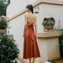 Dress Spring 2021 Caramel S,M,L longuette singleton  Sleeveless Sweet V-neck middle-waisted Solid color Big swing straps backless