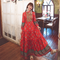 Dress Spring 2021 Red, blue S,M,L,XL longuette singleton  Nine point sleeve V-neck High waist Socket Big swing bishop sleeve Type A Embroidery