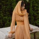Dress Spring 2021 Coral Orange , Coral orange scarf , Dress + scarf S,M,L,XL longuette Two piece set Long sleeves V-neck High waist Solid color A-line skirt Type A