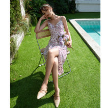 Dress Spring 2021 Purple floret S,M,L,XL Mid length dress singleton  Sleeveless commute V-neck High waist Decor A-line skirt camisole Type A