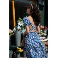 Dress Spring 2021 Blue flower S,M,L,XL Mid length dress singleton  Short sleeve square neck High waist Decor A-line skirt Type A
