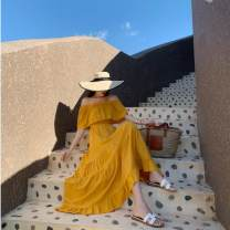 Dress Spring 2021 Yellow, red, white S,M,L longuette singleton  Short sleeve commute One word collar High waist Solid color Socket Big swing Lotus leaf sleeve Breast wrapping 25-29 years old Type A Lotus leaf edge Chiffon polyester fiber