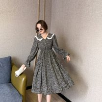 Dress Spring 2021 White, black S,M,L,XL,2XL Mid length dress singleton  Long sleeves commute Doll Collar Elastic waist Broken flowers Single breasted A-line skirt puff sleeve Others 25-29 years old Type A Korean version Button 31% (inclusive) - 50% (inclusive) Chiffon polyester fiber