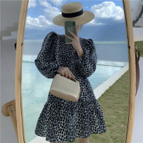 Dress Spring 2021 Grey Leopard Print S,M,L Short skirt singleton  Long sleeves commute Crew neck High waist Broken flowers Socket A-line skirt routine 18-24 years old Type A printing Chiffon polyester fiber