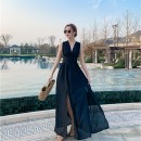 Dress Spring 2021 black S,M,L,XL longuette singleton  commute V-neck High waist Solid color Irregular skirt Hanging neck style Type A