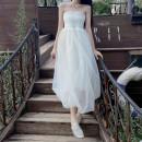 Dress Summer 2021 White, black S,M,L longuette singleton  Sleeveless commute middle-waisted Solid color Socket Irregular skirt Breast wrapping 18-24 years old Type O lady Splicing 31% (inclusive) - 50% (inclusive) other polyester fiber