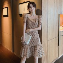 Dress Spring 2021 Picture color S,M,L,XL Middle-skirt singleton  Short sleeve Sweet square neck Dot puff sleeve camisole