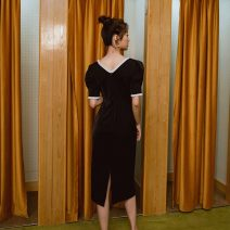Dress Spring 2021 black S,M,L,XL Mid length dress singleton  Short sleeve square neck High waist Solid color