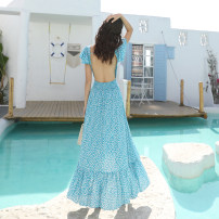 Dress Spring 2021 Decor S,M,L,XL Long sleeves V-neck High waist Decor Socket Big swing Type A Other / other
